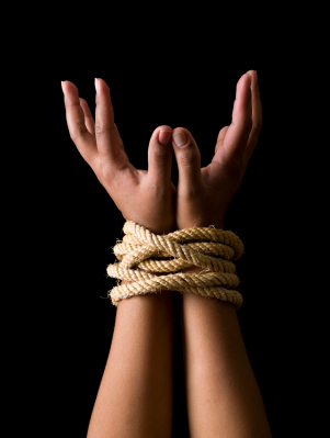 bound wrists with rope
